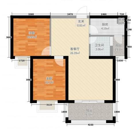 鼓浪屿商业中心2室1厅1卫1厨91.00㎡户型图