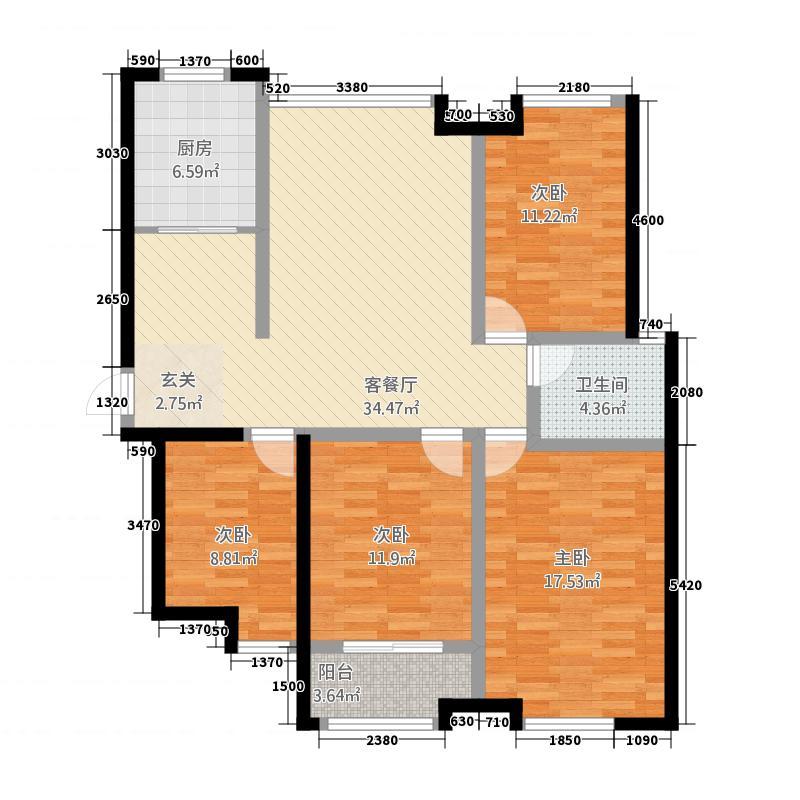 华府一品142.00㎡二期高层B2户型4室2厅1卫
