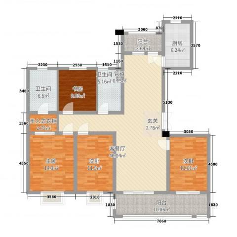 海门翠湖天地4室1厅2卫1厨175.00㎡户型图