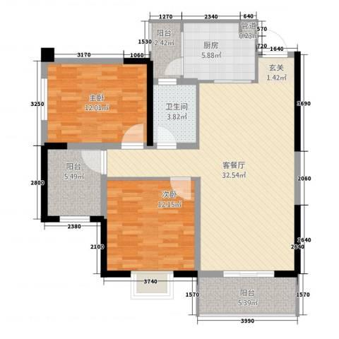 金色华府2室1厅1卫1厨79.94㎡户型图