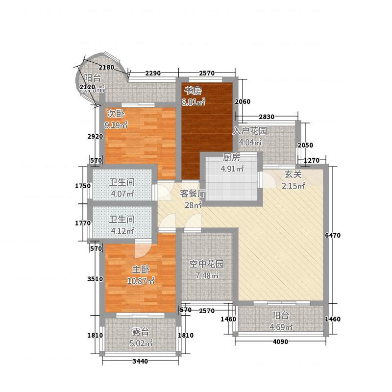 龙凤吉祥山庄115.20㎡户型3室2厅2卫1厨