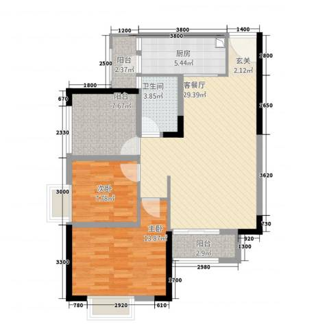 美丽泽京2室1厅1卫1厨73.49㎡户型图