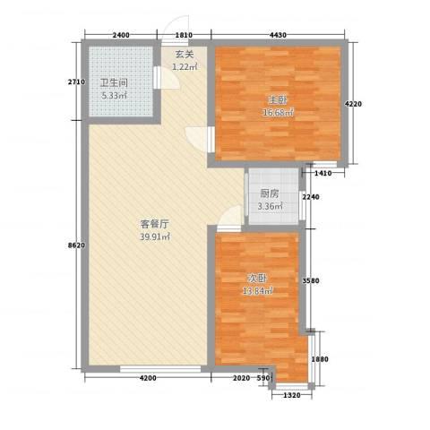 海旺家园二期2室1厅1卫1厨112.00㎡户型图