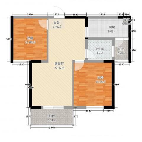 金色华府2室1厅1卫1厨70.13㎡户型图