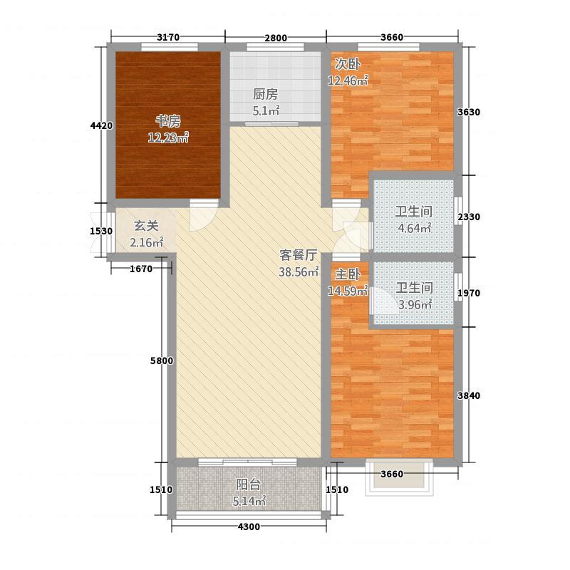 西亚斯御�137.22㎡(5)户型3室2厅2卫1厨
