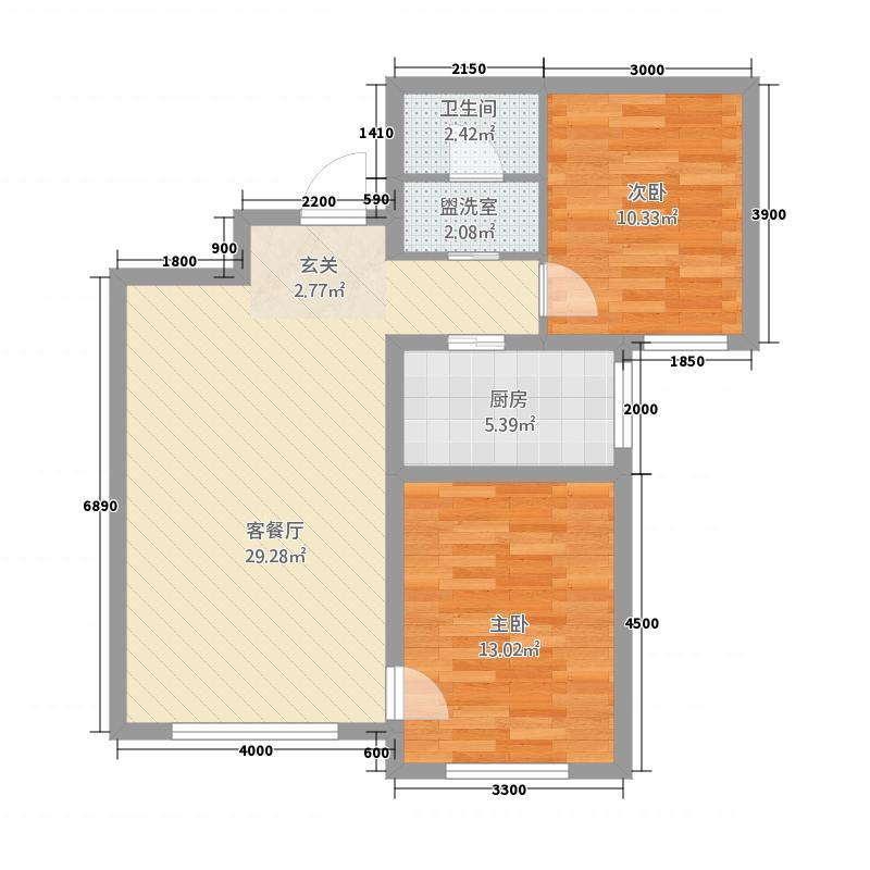 和�・北城大观1.78㎡B1户型2室2厅1卫1厨