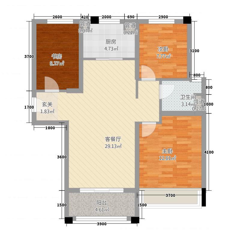 石家庄碧桂园11.20㎡高层YJ105-C户型3室2厅1卫1厨