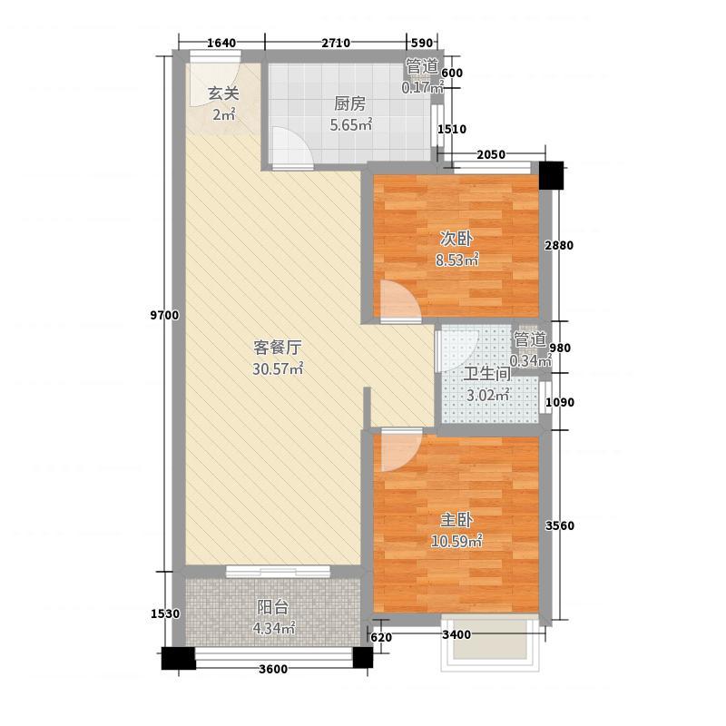 石家庄碧桂园8.20㎡高层YJ80-B户型2室2厅1卫1厨