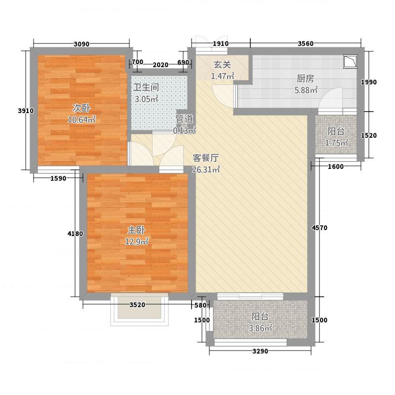 众美凤凰绿都3.61㎡B户型2室2厅1卫1厨