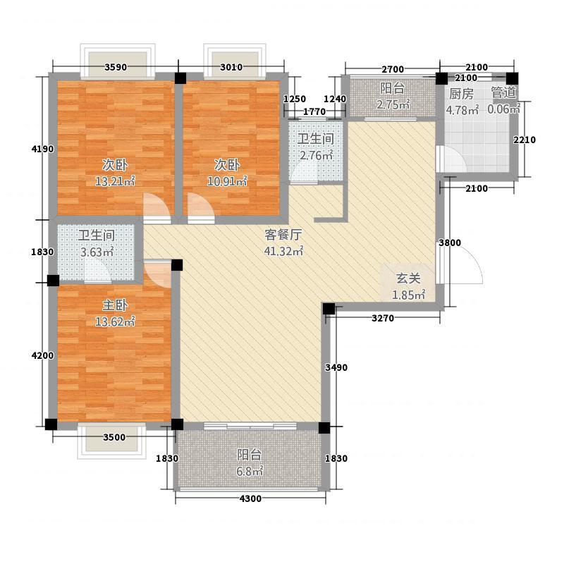 海滨壹号32126.82㎡C户型3室2厅2卫1厨