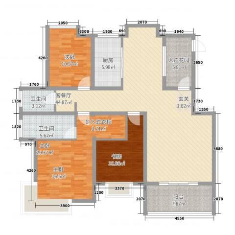 格林春天二期3室1厅2卫1厨141.00㎡户型图