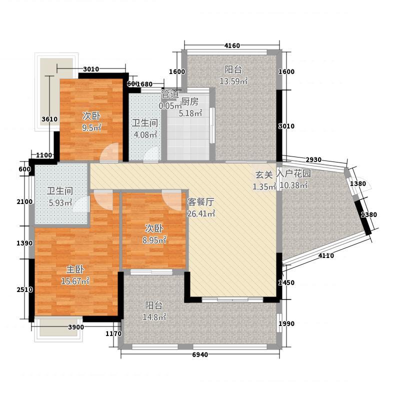 依云小镇2号楼0104单元3室户型3室2厅2卫1厨