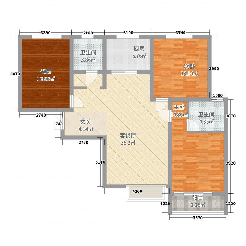 西亚斯御�3135.20㎡户型3室2厅2卫1厨