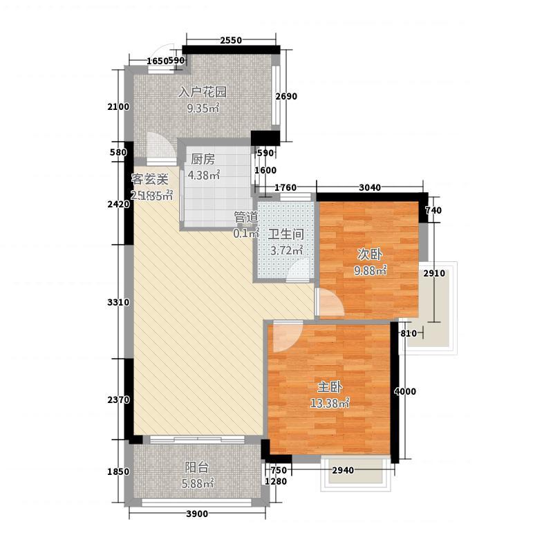 依云小镇2号楼0203单元2室户型2室2厅1卫1厨