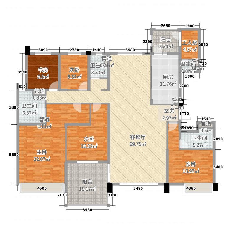 石家庄碧桂园27.20㎡高层YJ245-A户型6室2厅3卫1厨