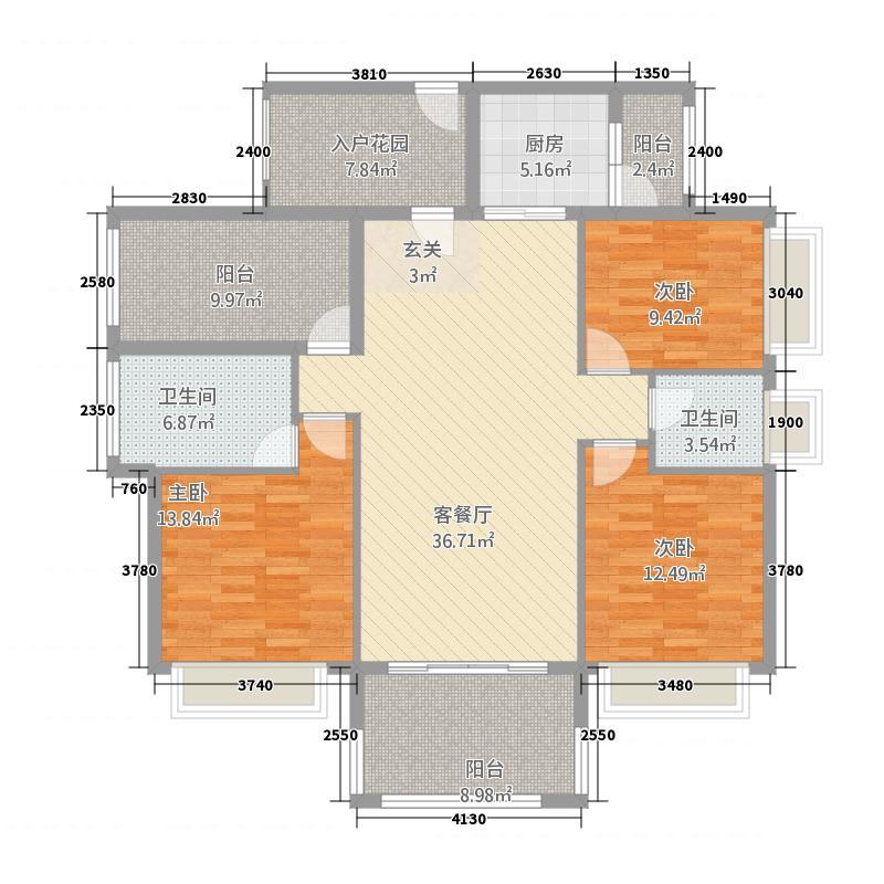 金叶华府3314.20㎡3栋03户型4室2厅2卫1厨