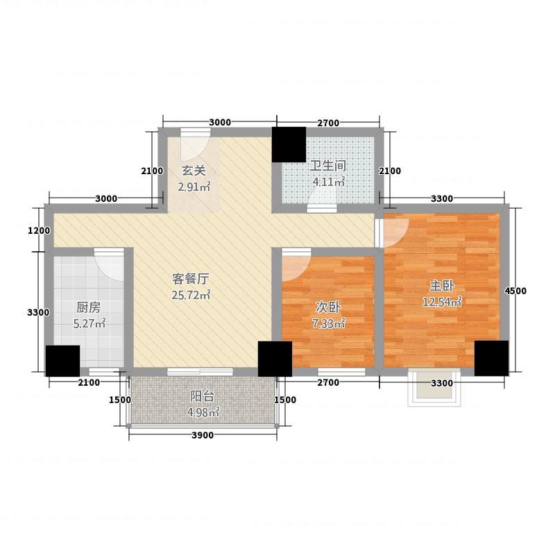 金港新城商住楼4.32㎡G户型2室2厅1卫1厨