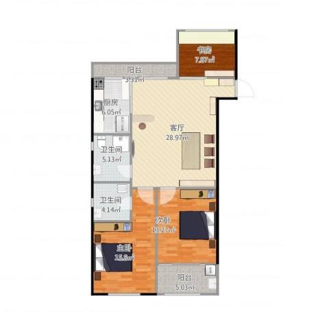 西涝台御鑫园3室1厅2卫1厨121.00㎡户型图