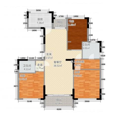金地澜悦3室1厅2卫1厨14314.00㎡户型图