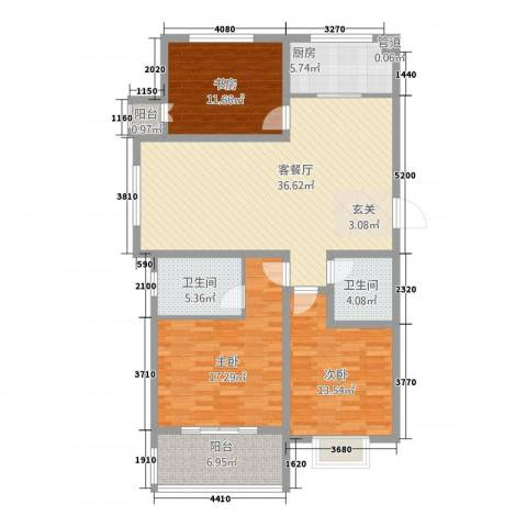 金如意花园二期3室1厅2卫1厨146.00㎡户型图