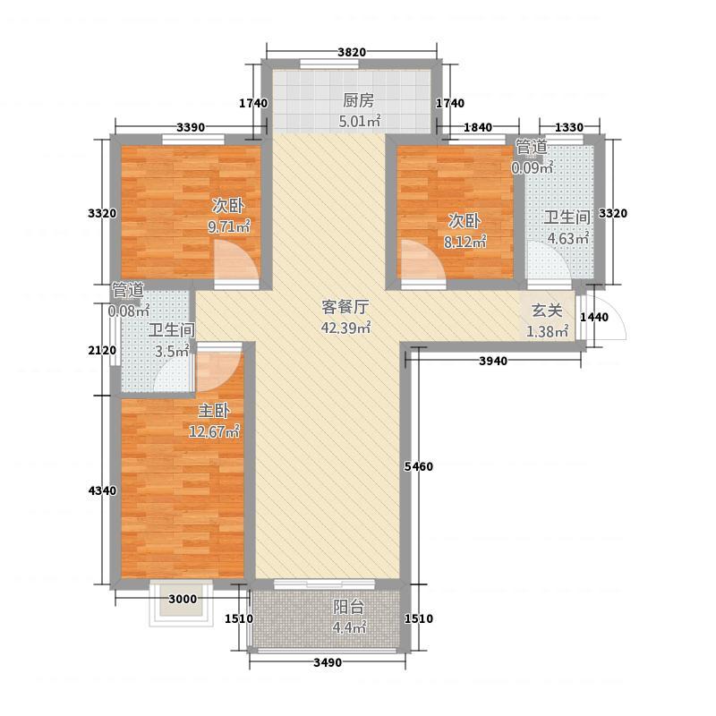 天意花苑32123.12㎡A户型3室2厅2卫1厨