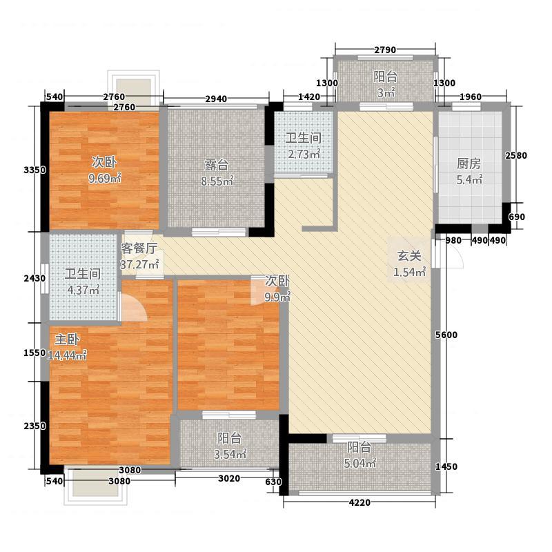 民富新天地1313.20㎡户型3室2厅2卫1厨