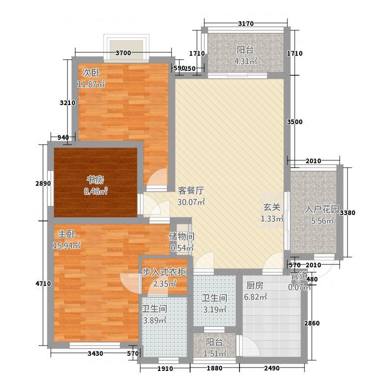 龙凤吉祥山庄134.20㎡户型3室2厅2卫1厨