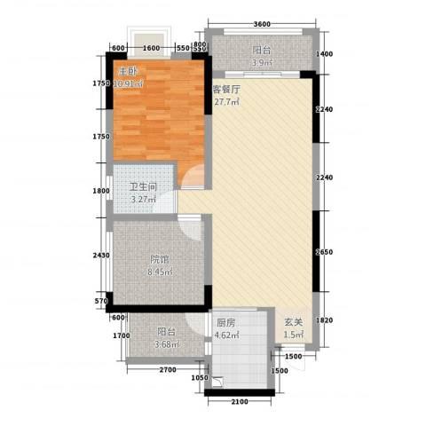 美丽泽京1室1厅1卫1厨62.52㎡户型图