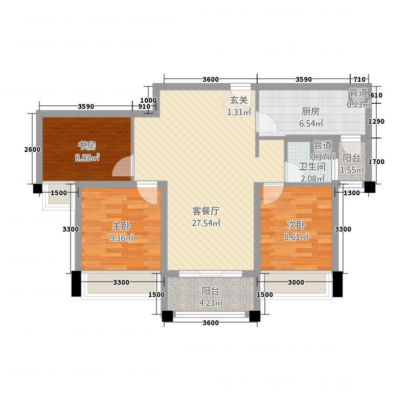石家庄碧桂园17.20㎡高层YJ105-B户型3室2厅1卫1厨