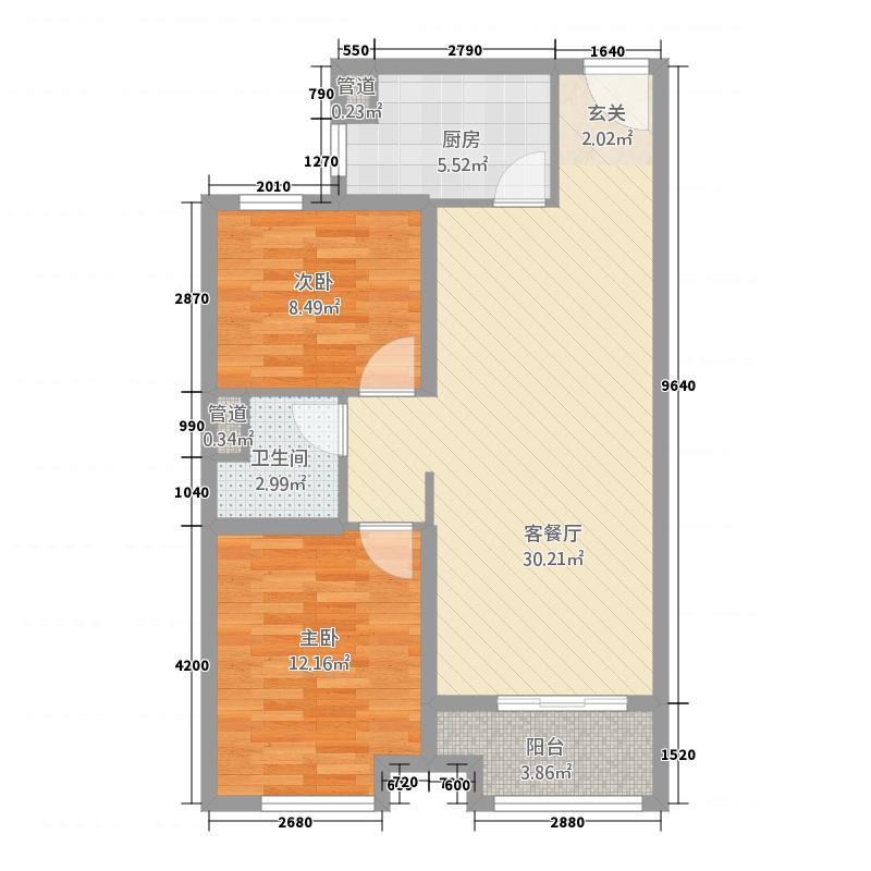 石家庄碧桂园高层YJ80-C户型2室2厅1卫1厨