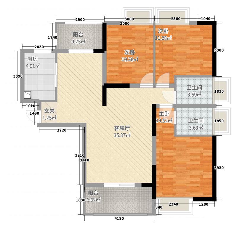 民富新天地12125.20㎡户型3室2厅2卫1厨