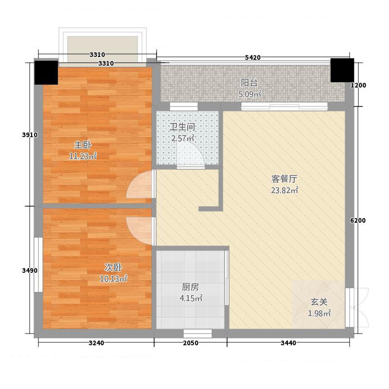 吉首大汉新城78.20㎡户型2室2厅1卫1厨