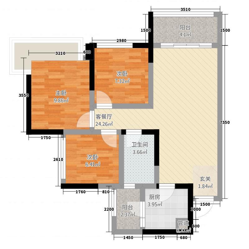 保利叶语4567.20㎡4、5、6号楼标准层D3户型3室2厅1卫1厨
