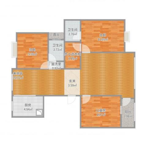 江南华庭3室1厅2卫1厨116.00㎡户型图