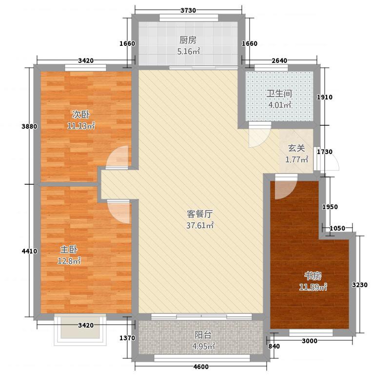 泰合嘉园215124.20㎡QQ图片户型3室2厅1卫1厨