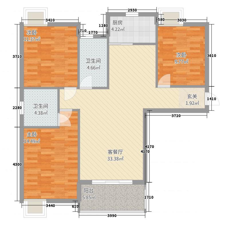 天地星座213122.45㎡2#A1户型3室2厅2卫1厨