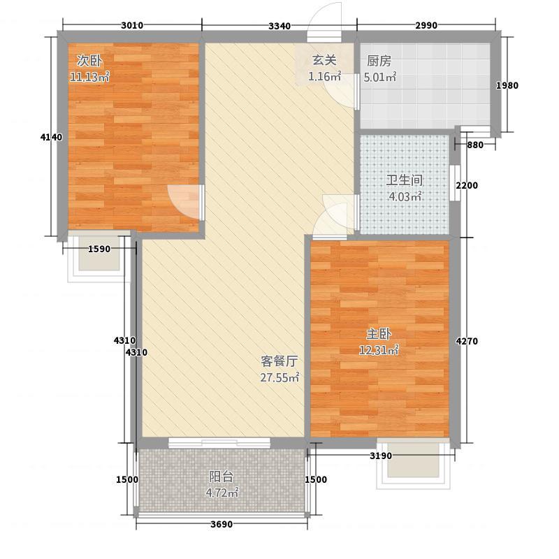 天地星座128.86㎡1#B户型2室2厅1卫1厨