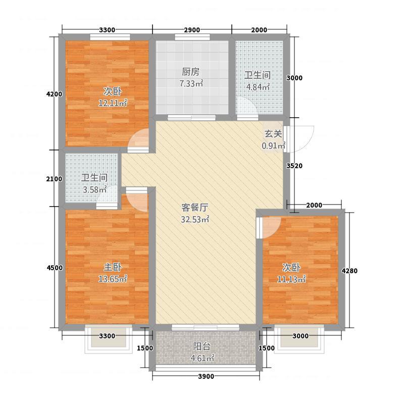 宇臻丝路商贸城135.20㎡户型3室2厅2卫1厨