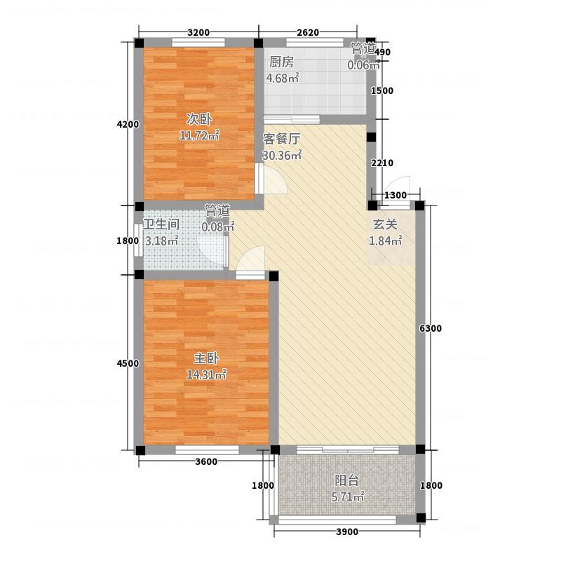 东林南洋花园86.74㎡户型2室2厅1卫1厨
