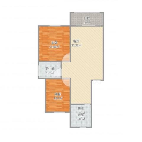 蒋巷北苑2室1厅1卫1厨99.00㎡户型图