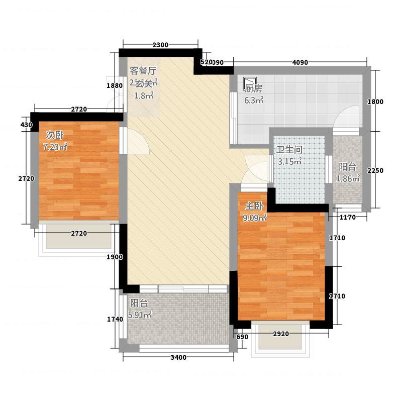 善群・天秀龙湾8.72㎡户型2室1厅1卫