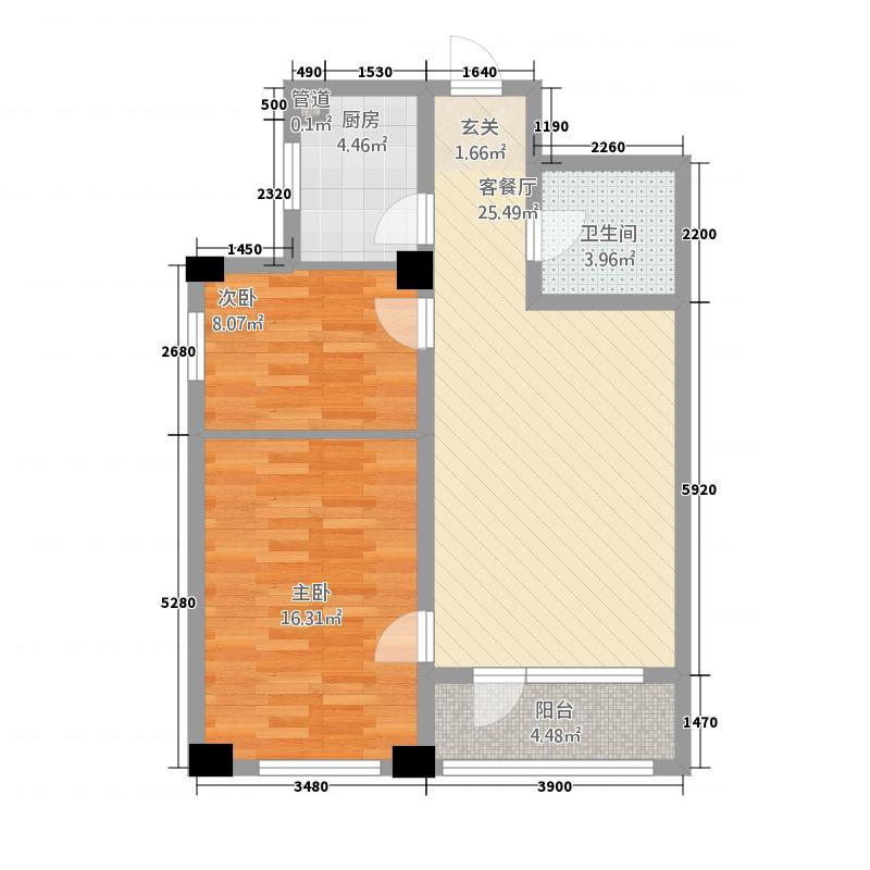 星泰广场商铺18.82㎡户型2室2厅1卫1厨