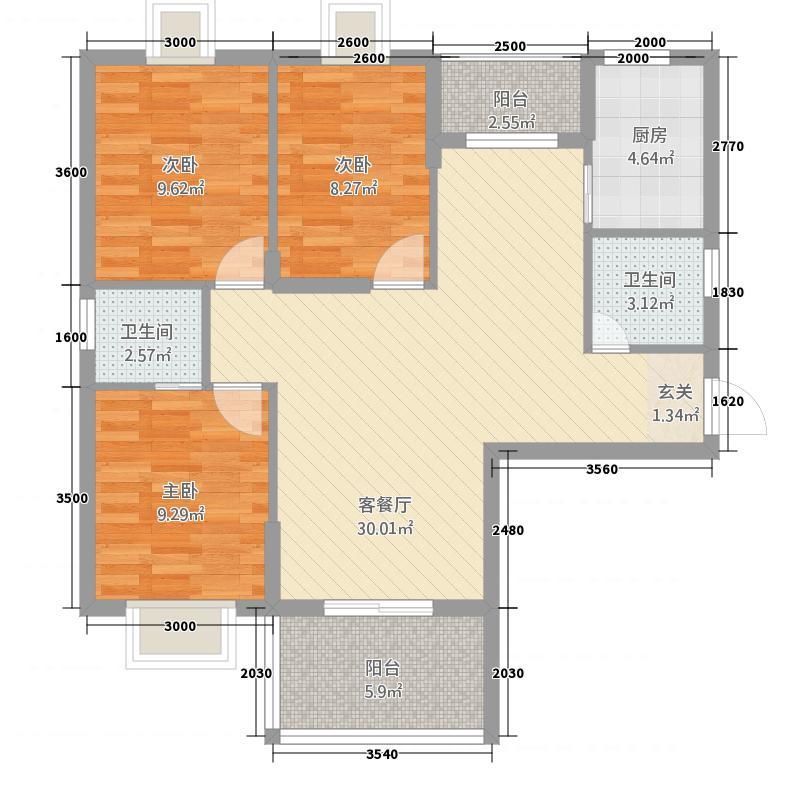 汉江广场国际城114.61㎡A1户型3室2厅2卫1厨