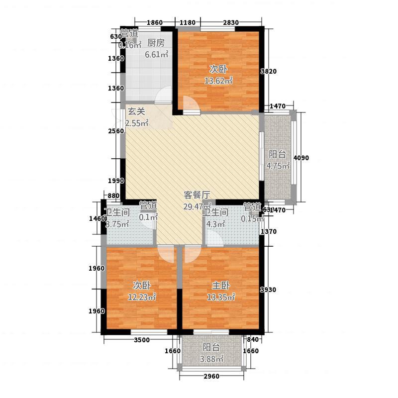 上虞佳源商业广场131.20㎡HX-方-6#7#户型3室2厅2卫1厨