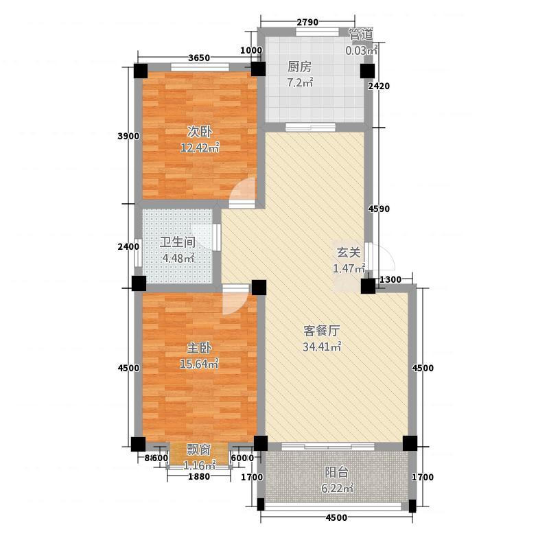 宏福家园28.72㎡户型2室2厅1卫1厨