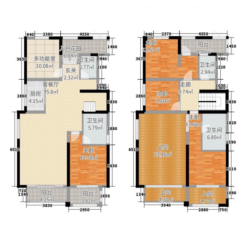 世茂摩天城275.20㎡一期高层住宅户型5室2厅4卫1厨