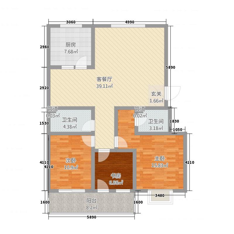 夏都裕桦园33138.82㎡户型3室2厅2卫