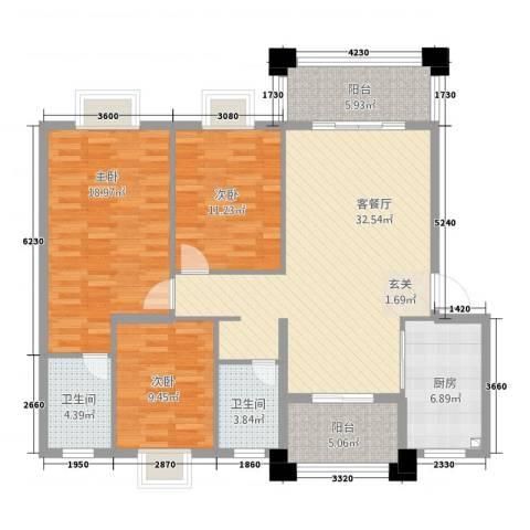 实德金源国际3室1厅2卫1厨115.00㎡户型图