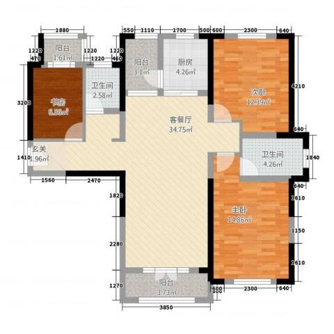 航宇・长江国际3室1厅2卫1厨128.00㎡户型图