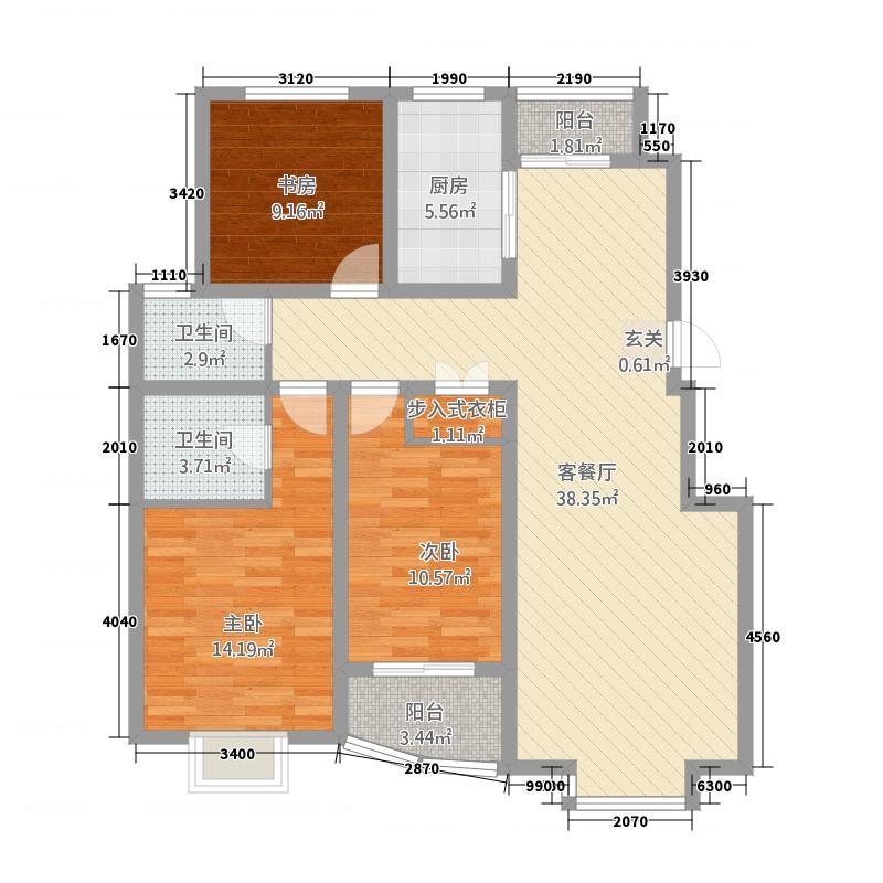 夏都裕桦园53131.52㎡户型3室2厅2卫